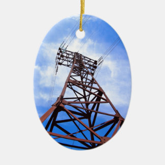 High-voltage tower on blue sky Double-Sided oval ceramic christmas ornament