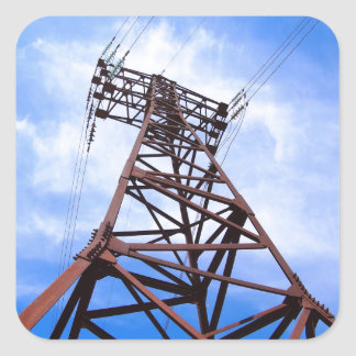 High-voltage tower on blue sky square sticker