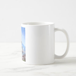 High-voltage tower with wires classic white coffee mug