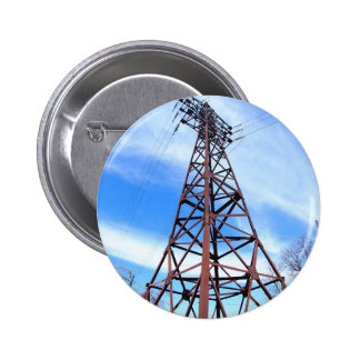 High-voltage tower with wires pinback button