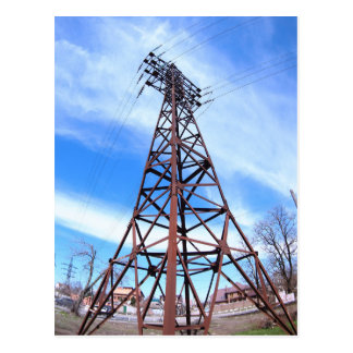 High-voltage tower with wires postcard