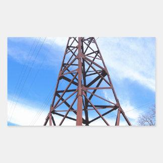 High-voltage tower with wires rectangular sticker