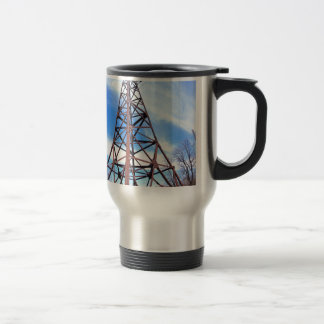 High-voltage tower with wires travel mug