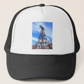 High-voltage tower with wires trucker hat