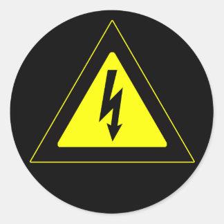 High Voltage Warning Sign Classic Round Sticker
