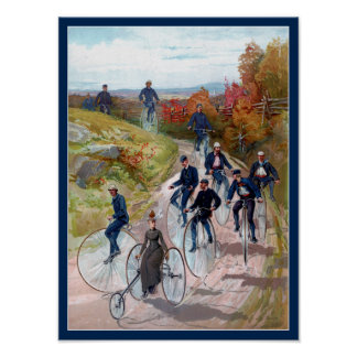 High Wheel Bicycle 19th Century Victorian Fine Art Poster