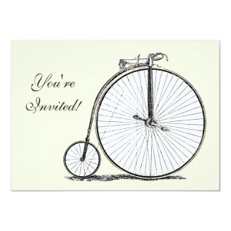 High Wheeler Victorian Penny Farthing Cycle biking 4.5x6.25 Paper Invitation Card