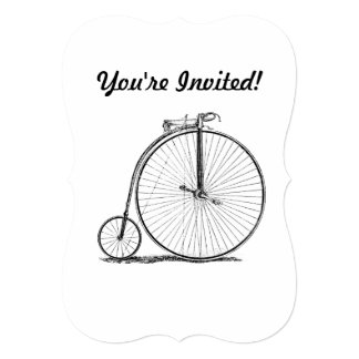 High Wheeler Victorian Penny Farthing Cycle Biking 5x7 Paper Invitation Card