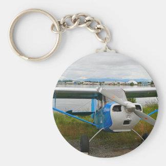 High wing aircraft, blue & white, Alaska Keychain