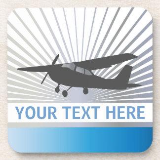 High Wing Aircraft - Custom Text Beverage Coaster