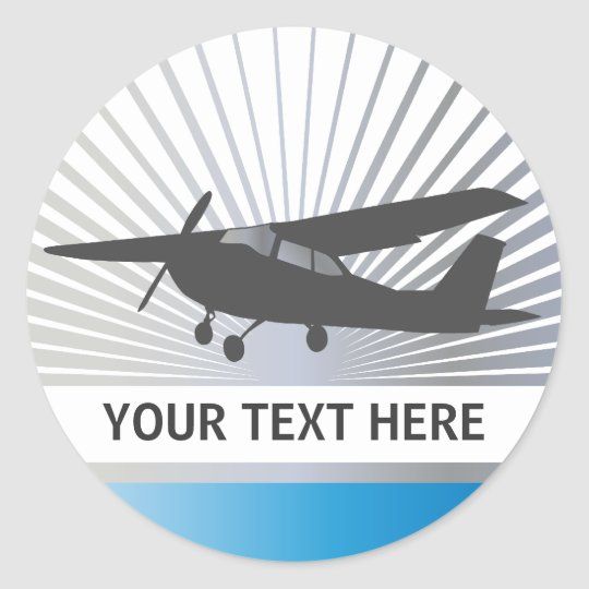 High Wing Aircraft - Custom Text Classic Round Sticker