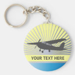 High Wing Aircraft - Custom Text Basic Round Button Keychain
