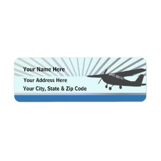 High Wing Aircraft - Custom Text Return Address Label