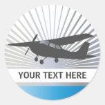 High Wing Aircraft - Custom Text Round Sticker