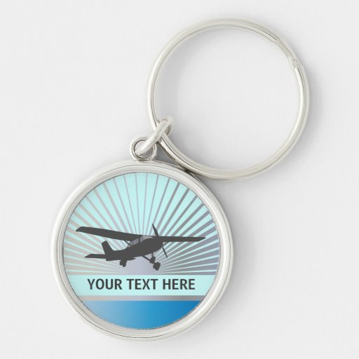 High Wing Aircraft Silver-Colored Round Keychain