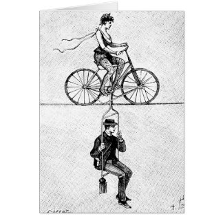 High-wire Bicycle - Vintage Circus Cycling Act Card