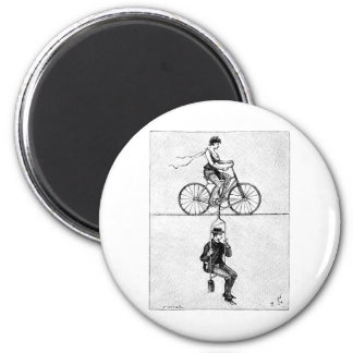 High-wire Bicycle - Vintage Circus Cycling Act 2 Inch Round Magnet