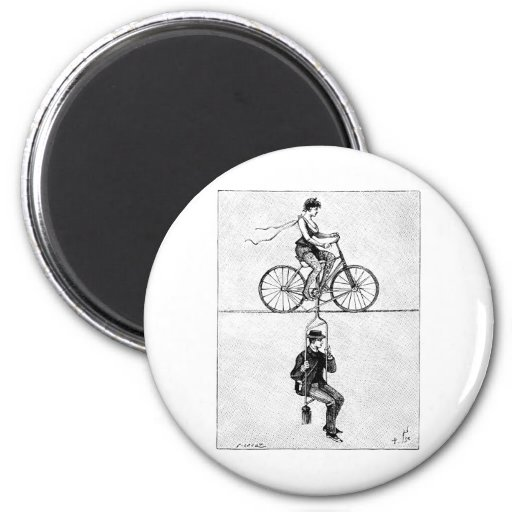 High-wire Bicycle - Vintage Circus Cycling Act Fridge Magnets