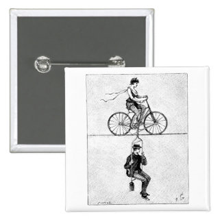 High-wire Bicycle - Vintage Circus Cycling Act Pinback Button