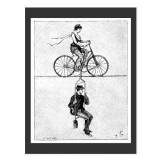 High-wire Bicycle - Vintage Circus Cycling Act Postcard