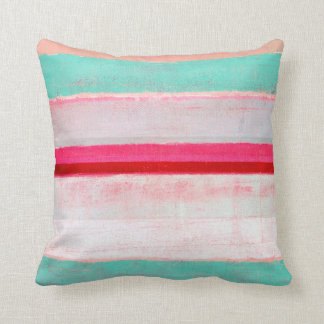 'Higher' Turquoise and Pink Abstract Art Throw Pillow