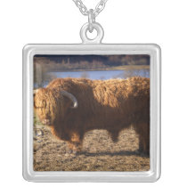 Highland Cattle Bull, Scotland Silver Plated Necklace
