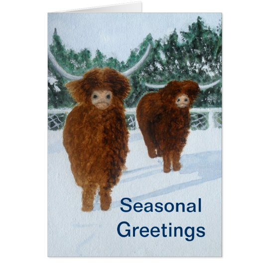Highland Cattle in Winter Card