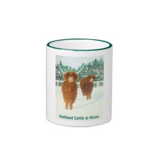 Highland Cattle in Winter Ringer Mug