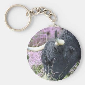 Highland Coo Basic Round Button Keychain