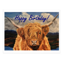 Highland Cow Birthday Postcard