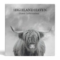 Highland Cow Cabin Guest Information 3 Ring Binder