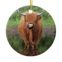 Highland cow ceramic ornament