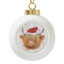 highland cow christmas bauble hat ceramic ball christmas ornament
