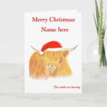 Highland Cow Christmas card, customisable Holiday Card