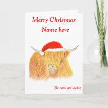 Highland Cow Christmas card, customisable Holiday Card