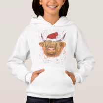 highland cow christmas hat hoodie