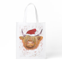 highland cow christmas hat reusable bag