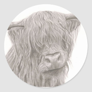 Highland Cow Classic Round Sticker