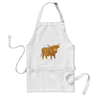 highland cow (coo) adult apron