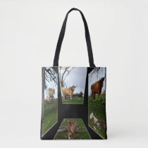 Highland Cow Dimensional Art, Tote Shopping Bag