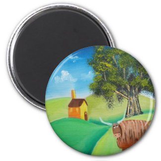 HIGHLAND COW FOLK ART MAGNET