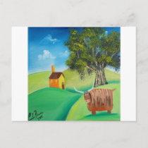 HIGHLAND COW FOLK ART POSTCARD