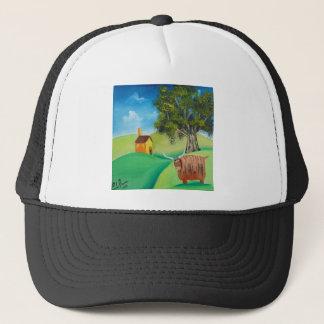 HIGHLAND COW FOLK ART TRUCKER HAT