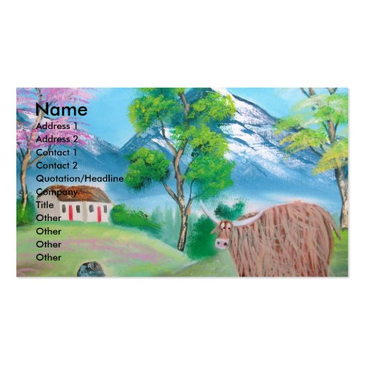 HIGHLAND COW FOLK PAINTING Double-Sided STANDARD BUSINESS CARDS (Pack OF 100)