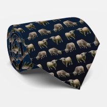 Highland Cow Frenzy Tie Double Sided (Navy Mix)