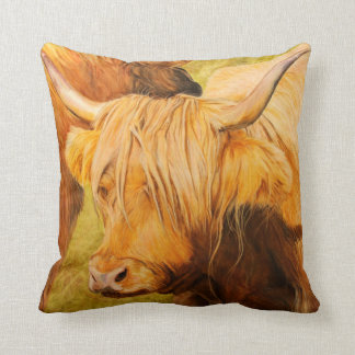 Highland Cow, Oil pastels Throw Pillow