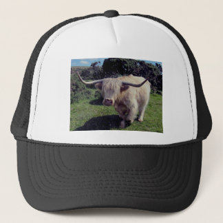 Highland cow on the move on dartmoor trucker hat