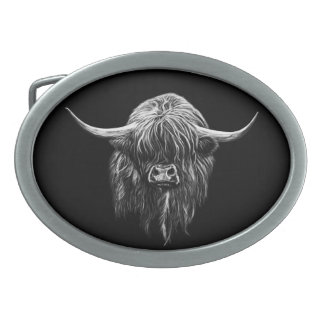 Highland Cow Oval Belt Buckle