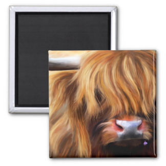 Highland Cow Painting 2 Inch Square Magnet