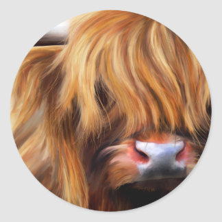 Highland Cow Painting Classic Round Sticker